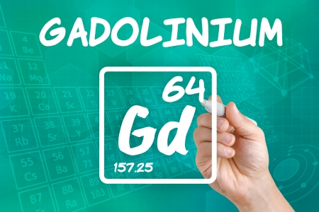 lanthanide: Symbol for the chemical element gadolinium Stock Photo