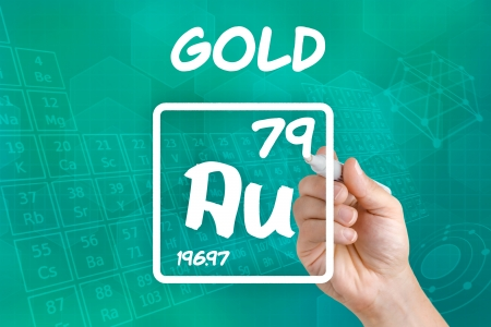 Symbol for the chemical element gold photo