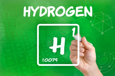 chemical element: Symbol for the chemical element hydrogen Stock Photo