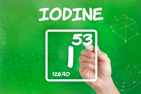 iodine: Symbol for the chemical element iodine