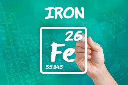 atomo: S�mbolo para el hierro elemento qu�mico Foto de archivo
