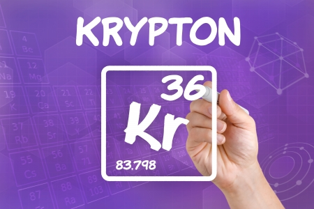 krypton: Symbol for the chemical element krypton Stock Photo