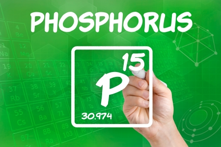Symbol for the chemical element phosphorus photo