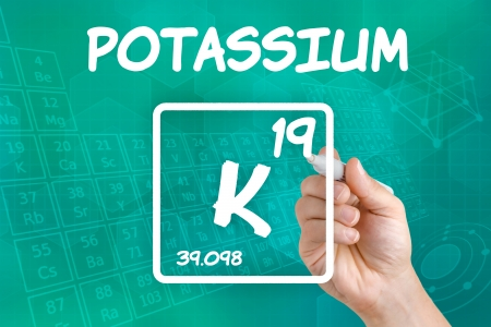 Symbol for the chemical element potassium photo