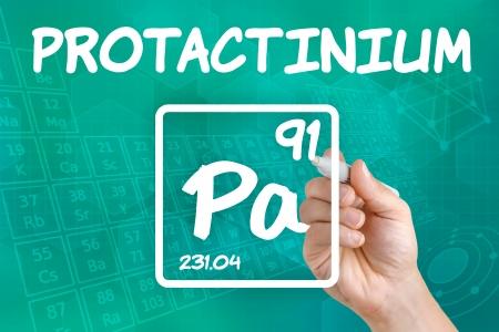 radioactive radiation: Symbol for the chemical element protactinium