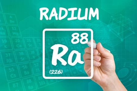 radium: Symbol for the chemical element radium Stock Photo