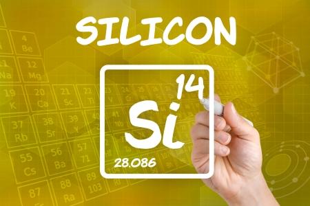 silicio: Símbolo para el silicio elemento químico Foto de archivo