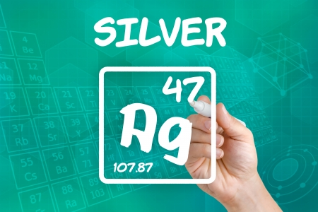 argentum: Symbol for the chemical element silver Stock Photo