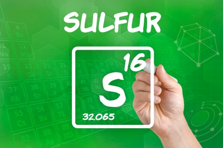 Symbol for the chemical element sulfur