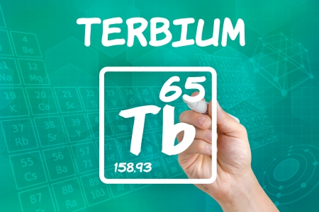lanthanide: Symbol for the chemical element terbium Stock Photo