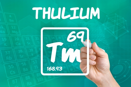 lanthanide: Symbol for the chemical element thulium Stock Photo