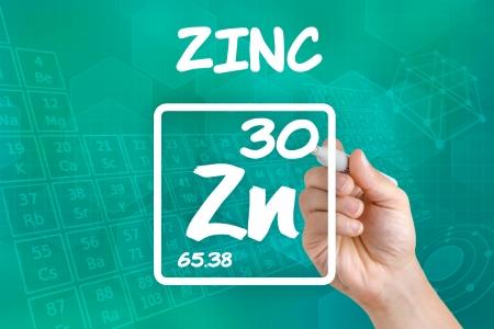 Symbool voor het chemische element zink Stockfoto