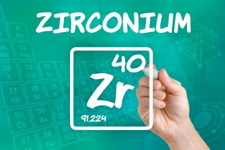 zircon: Symbol for the chemical element zirconium Stock Photo