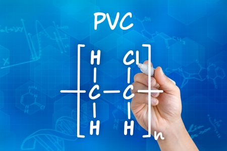structural formula: Hand with pen drawing the chemical formula of PVC Stock Photo