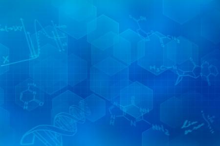 化学構造式を持つ青い未来的な背景