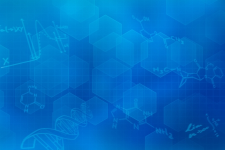chemical: Blue futuristic background with chemical structural formulas