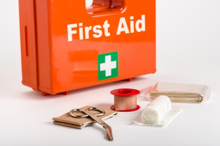 safety first: First Aid Kit with dressing material Stock Photo