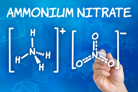 nitrate: Hand with pen drawing the chemical formula of ammonium nitrate