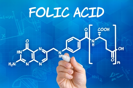 Hand with pen drawing the chemical formula of folic acid photo
