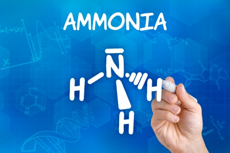 fertilizers: Hand with pen drawing the chemical formula of ammonia Stock Photo