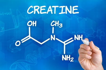 molecular structure: Hand with pen drawing the chemical formula of creatine Stock Photo