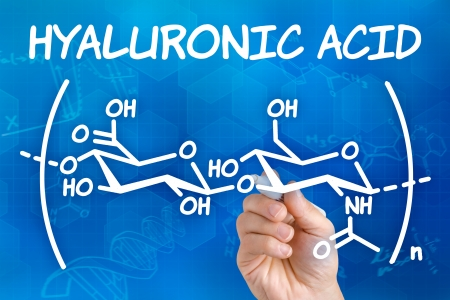 collagen: Hand with pen drawing the chemical formula of hyaluronic acid