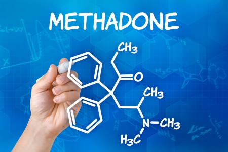 junkie: Hand with pen drawing the chemical formula of methadone