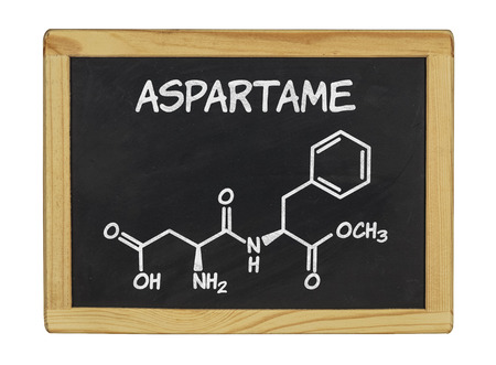 sweetener: chemical formula of aspartame on a blackboard