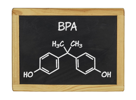 bpa: chemical formula of bpa on a blackboard Stock Photo