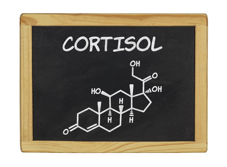 hormone: chemical formula of cortisol on a blackboard Stock Photo