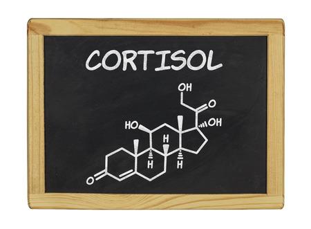fórmula química de cortisol en una pizarra