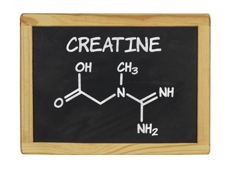 chemical formula of creatine on a blackboard photo