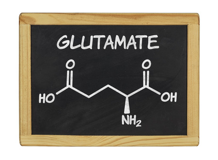 glutamate: chemical formula of glutamate on a blackboard