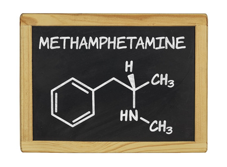 meth: chemical formula of methamphetamine Stock Photo