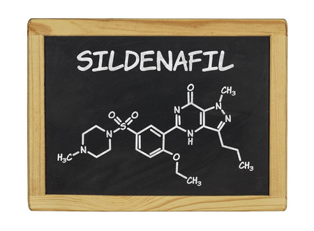 erectile: chemical formula of sildenafill on a blackboard Stock Photo