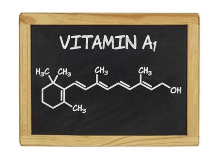 chemical formula: chemical formula of vitamin a on a blackboard Stock Photo