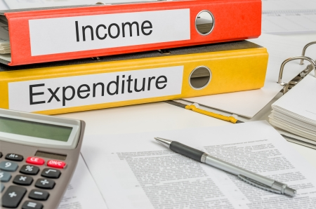 total loss: Folders with the label Income and Expenditure Stock Photo