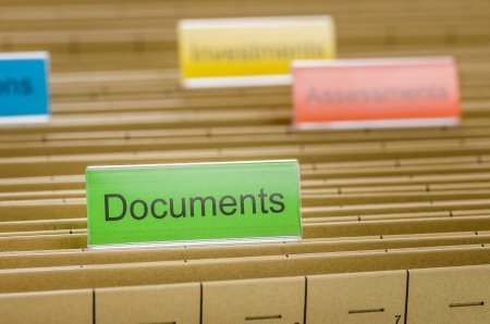 indexing: Hanging file folder labeled with Documents