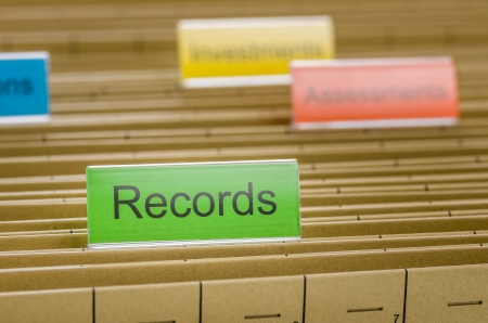 Hanging file folder labeled with Records