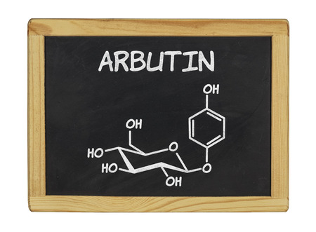 chemical formula of arbutin on a blackboard photo