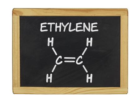ethylene: chemical formula of ethylene on a blackboard