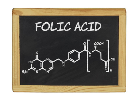 chemical formula of folic acid on a blackboard photo