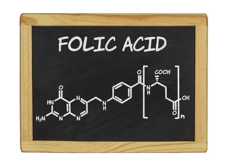 chemical formula of folic acid on a blackboard photo