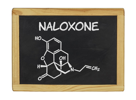 chemical formula of naloxone on a blackboard photo