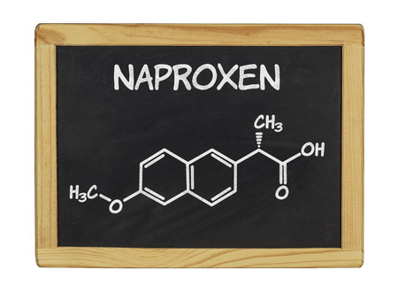 chemical formula of naproxen on a blackboard photo