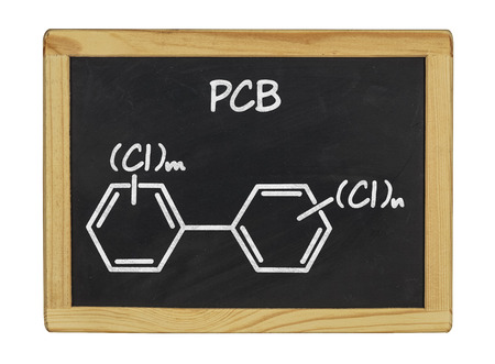 biphenyl: chemical formula of pcb on a blackboard Stock Photo