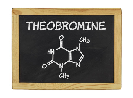 chemical formula of theobromine on a blackboard photo