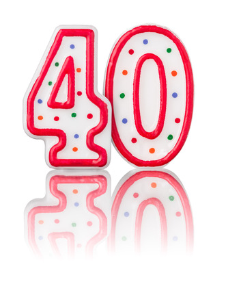 40 years: Red number 40 with reflection Stock Photo