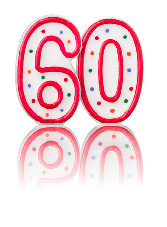 birthday candles: Red number 60 with reflection