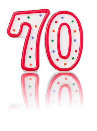 seventieth: Red number 70 with reflection Stock Photo